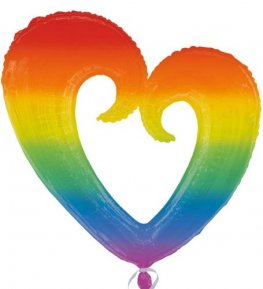 60s Rainbow Open Heart Supershape Balloons