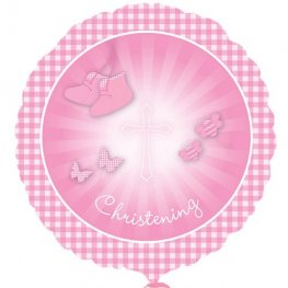 "18"" Christening Booties Pink Foil Balloons"