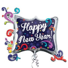 Happy New Year Swirl Supershape Balloons