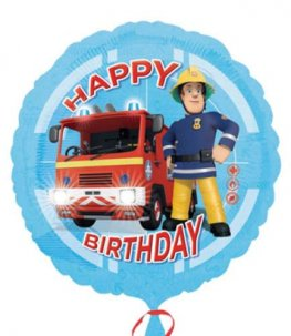 "18"" Fireman Sam Happy Birthday Foil Balloons"