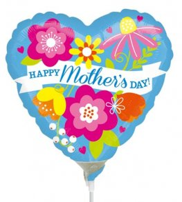 "9"" Happy Mothers Day Blue Air Fill Balloons"