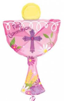 1st Communion Pink Chalice Supershape Balloons