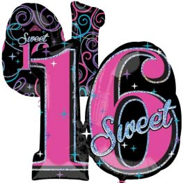 Sweet 16 Sparkle Supershape Balloons