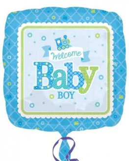 "18"" Welcome Baby Boy Train Foil Balloons"