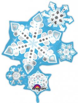 Frosty Snowflake Cluster Supershape Balloons