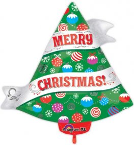 Ribbon Christmas Tree Junior Shape Foil Balloons
