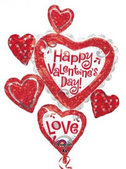 Happy Valentines Day Red Glitter Supershape Balloons