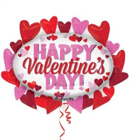 Happy Valentines Day Heart Marquee Supershape Balloon