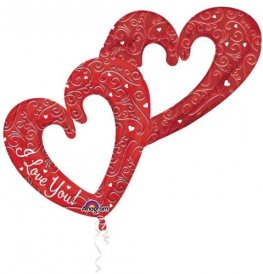Love Interlocking Hearts Multi Foil Balloons