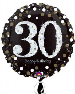 "18"" Black And Gold 30th Birthday Foil Balloons"