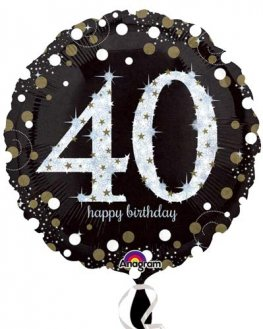 "18"" Black And Gold 40th Birthday Foil Balloons"