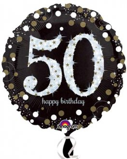 "18"" Black And Gold 50th Birthday Foil Balloons"