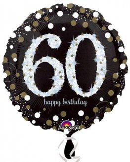 "18"" Black And Gold 60th Birthday Foil Balloons"