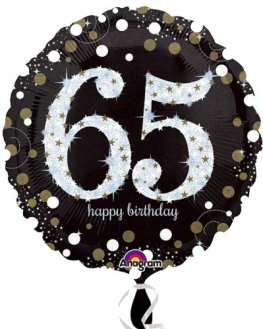 "18"" Black And Gold 65th Birthday Foil Balloons"