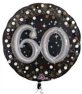 "36"" Gold Celebration Sparkling 60th Jumbo Foil Balloons"