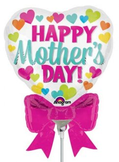 "9"" Happy Mothers Day Heart Shape With Bow Air Fill Balloons"