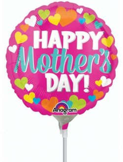 "9"" Happy Mothers Day Hearts Air Fill Balloons"