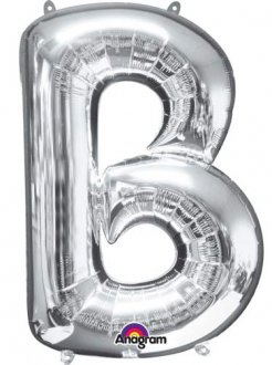 Letter B Silver Supershape Balloons