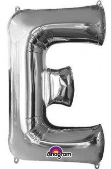 Letter E Silver Supershape Balloons