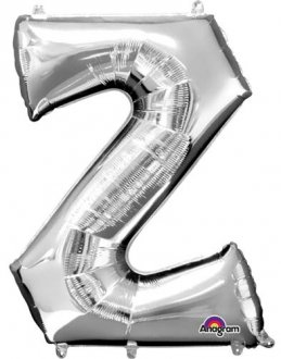 Letter Z Silver Supershape Balloons