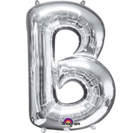 "16"" B Letter Silver Air Filled Balloons"