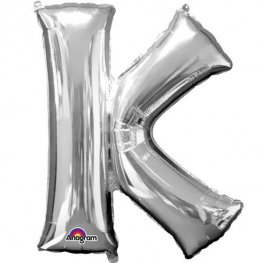 "16"" K Letter Silver Air Filled Balloons"