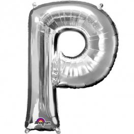 "16"" P Letter Silver Air Filled Balloons"