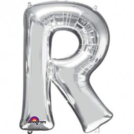 "16"" R Letter Silver Air Filled Balloons"