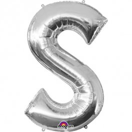 "16"" S Letter Silver Air Filled Balloons"