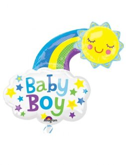 Baby Boy Bright Rainbow Supershape Balloons