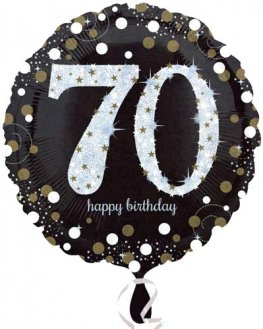 "18"" Black And Gold 70th Birthday Foil Balloons"