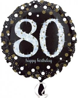 "18"" Black And Gold 80th Birthday Foil Balloons"