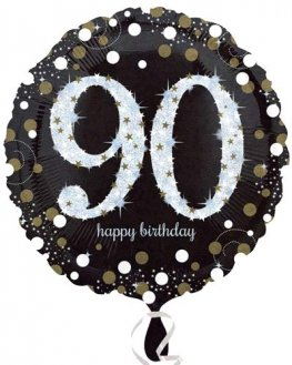 "18"" Black And Gold 90th Birthday Foil Balloons"