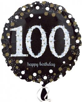 "18"" Black And Gold 100th Birthday Foil Balloons"