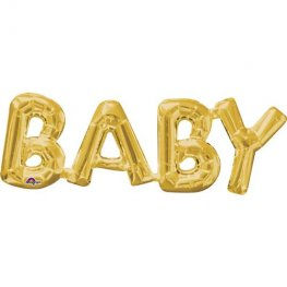 "26"" Baby Gold Air Filled Balloons Kit"