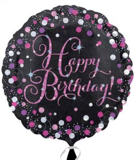 "18"" Pink Celebration Happy Birthday Foil Balloons"