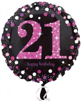 "18"" Black And Pink 21st Birthday Foil Balloons"