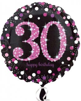 "18"" Black And Pink 30th Birthday Foil Balloons"