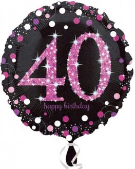 "18"" Black And Pink 40th Birthday Foil Balloons"