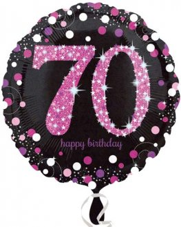 "18"" Black And Pink 70th Birthday Foil Balloons"