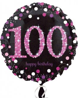 "18"" Black And Pink 100th Birthday Foil Balloons"