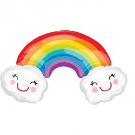 Rainbow With Clouds Supershape Balloons
