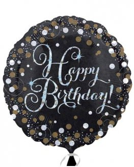 "18"" Black And Gold Happy Birthday Foil Balloons"