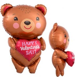 Happy Valentines Day Bear With Heart Supershape Balloons