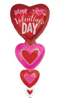 Happy Valentines Day Vertical Hearts Multi Foil Balloons