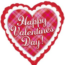 "18"" Happy Valentines Day Plaid Foil Balloons"