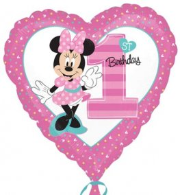 "18"" Minnie Mouse 1st Birthday Foil Balloons"