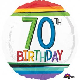 "18"" Rainbow Birthday 70th Foil Balloons"