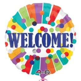 "18"" Welcome Dots & Stripes Foil Balloons"