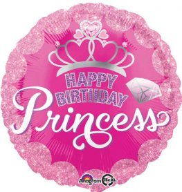 "18"" Princess Crown & Gem Happy Birthday Foil Balloons"